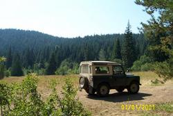 1962 land rover, at edge of meadow south of Mount Hood, Oregon