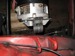 test fit of passenger side motor mount to make measurements for frame bracket.  Original chassis bracket to be removed.